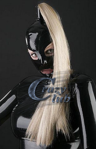 Free Shipping! Latex mask rubber mask with hair holes and single braids cosplay mask zentai fetish hood sexy mask sale horrible mummy latex mask with burst out eye