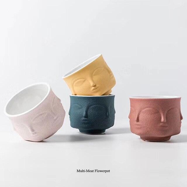 Ваза в стиле Форназетти Креативный дизайн цветочный горшок Nordic Стиль Керамика украшениями для стола цветок лицо ароматическая свеча чашки