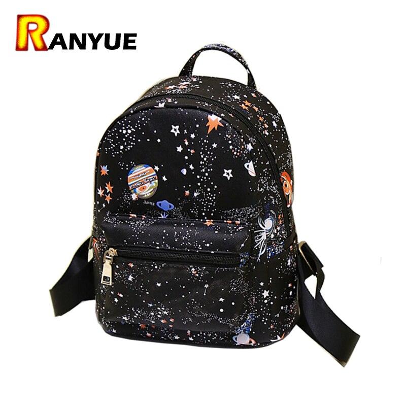 ea9a97b48817 Мода звезды Вселенной пространство печати рюкзак черный Школьные ранцы для  подростков Обувь для девочек маленький рюкзак Для женщин кожа Mochila  Escolar ...