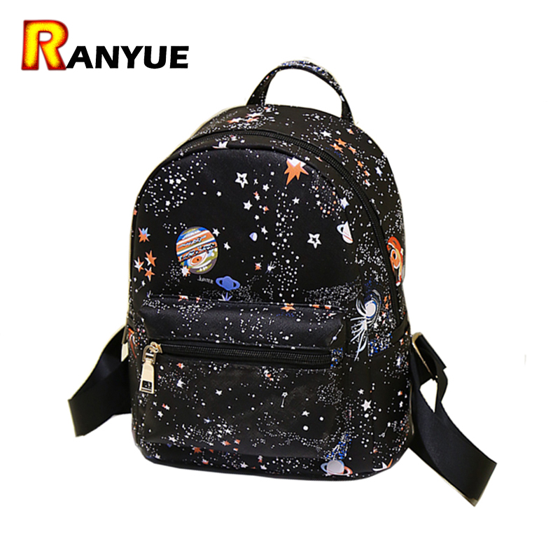 Fashion Star Universe Space Printing Backpack Black School Bags For Teenage Girls Small Backpack Women Leather Mochila Escolar 2017 new women galaxy star universe space canvas backpack multicolor school bags for girls mochila feminina teenage campus bags