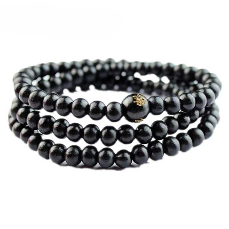 KYSZDL Wholesale 2PCS natural 6MM sandalwood bracelet men and women 108 buddha beads jewelry gifts