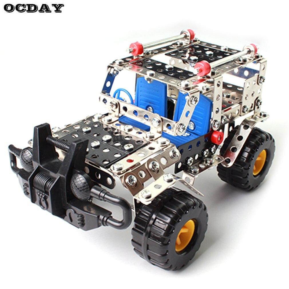 -País vehículo Constructor de juguetes 262 unids/set Metal iluminar asamblea modelo Kits de construcción de bloques de juguetes para los niños las niñas regalos