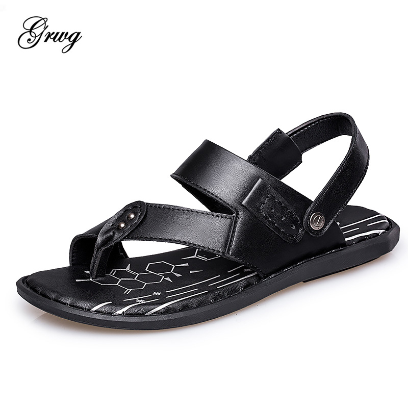GRWG New Fashion Summer Shoes Cow Leather Men Sandals Mens Casual Shoes Non-slip Rubber Soles Beach Shoes Plus Size 38 ~ 46