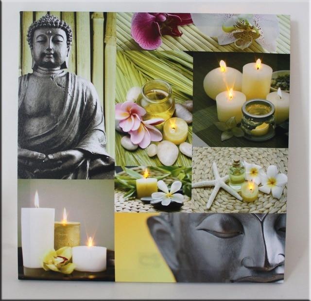 Boeddha Met Led Verlichting.Us 16 8 10 Led Verlichting Gratis Verzending Wall Art Met Led Canvas Boeddha Wall Schilderij Licht Up Uitgerekt En Ingelijste Werk Groothandel In