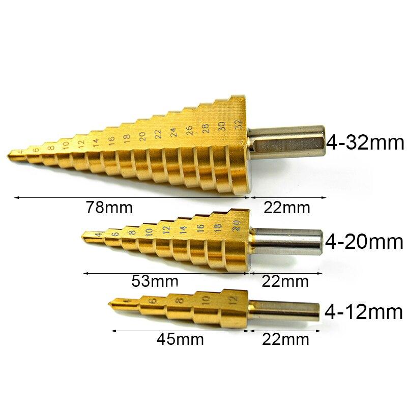3Pcs Spiral Flute The Pagoda Shape Hole Cutter 4-12/20/32mm HSS Steel Step Sharpening +3pcs Titanium Coated HSS Drill Bit