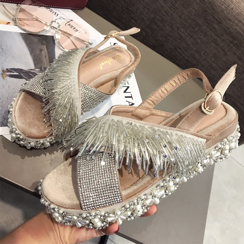Carole Levy 2019 The New Luxury Design String Bead Decor Bling Crystal Slipper Shoes Woman Summer Outside Dating Beach SlidesCarole Levy 2019 The New Luxury Design String Bead Decor Bling Crystal Slipper Shoes Woman Summer Outside Dating Beach Slides