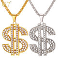 U7 Dollar Necklace & Pendant 316L Stainless Steel/Gold Plated Chain For Women/Men Rhinestone Charm Hip Hop Bling Jewelry P1003