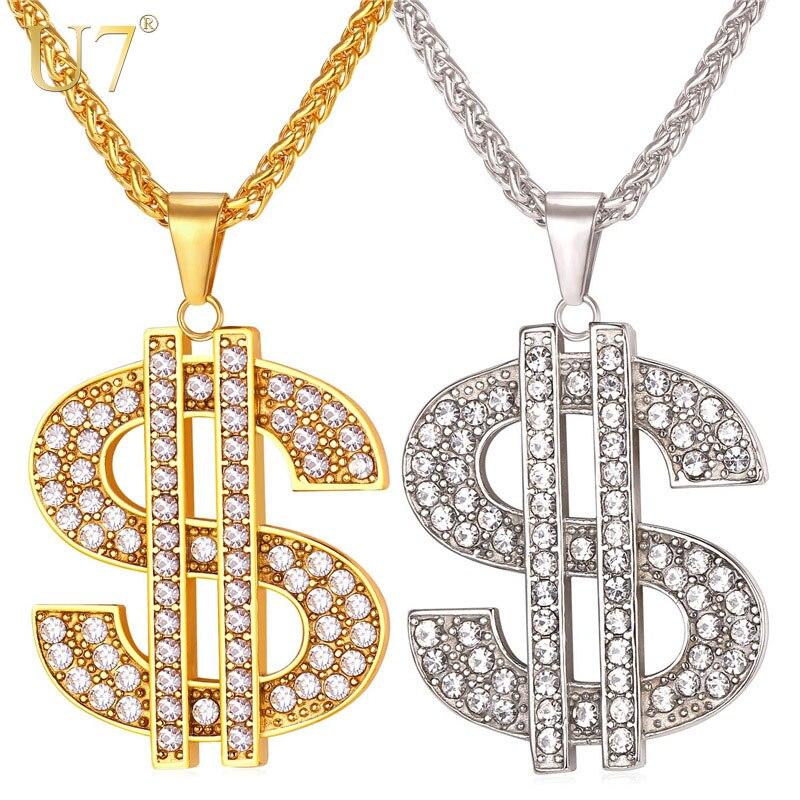 U7 NOUS Dollar D'argent Collier & Pendentif 316L En Acier Inoxydable/Or Couleur Chaîne Pour Les Femmes/Hommes Strass Hanche Hop Bling Bijoux P1003