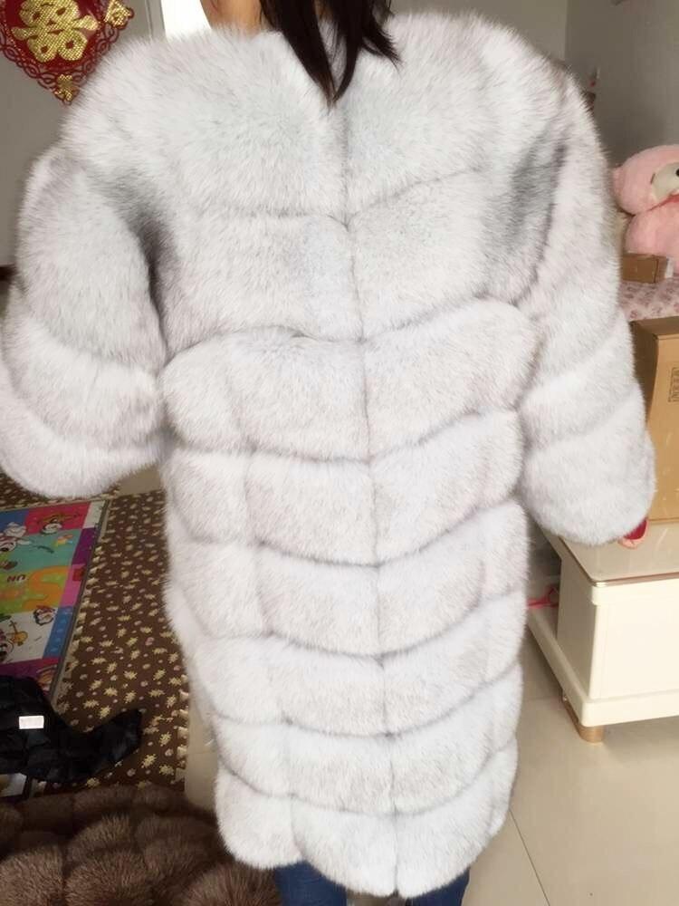 натуральный мех 2017 лиса меховой жилет 90 см длинное пальто рукава дизайн женщин бесплатная доставка