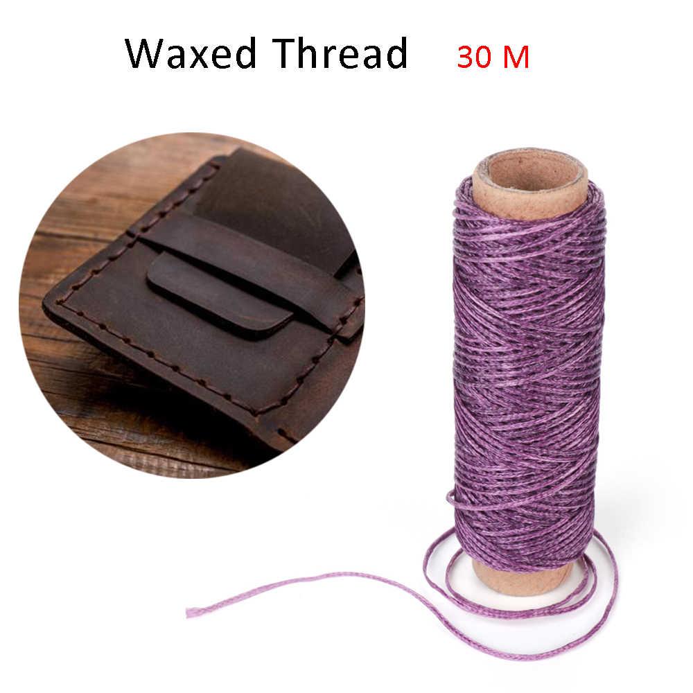 30 m/Roll 1mm Duurzaam Waxed Thread Katoenen Koord String Riem Hand Stiksels Draad voor Leer Materiaal Handwerk tool