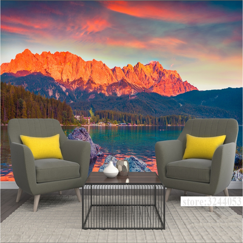 Customize Wall Murals Scenery Germany Sunset 3d Photo Wall Paper Environment Friendly Bedroom Study TV Background Living Room shinehome black white cartoon car frames photo wallpaper 3d for kids room roll livingroom background murals rolls wall paper