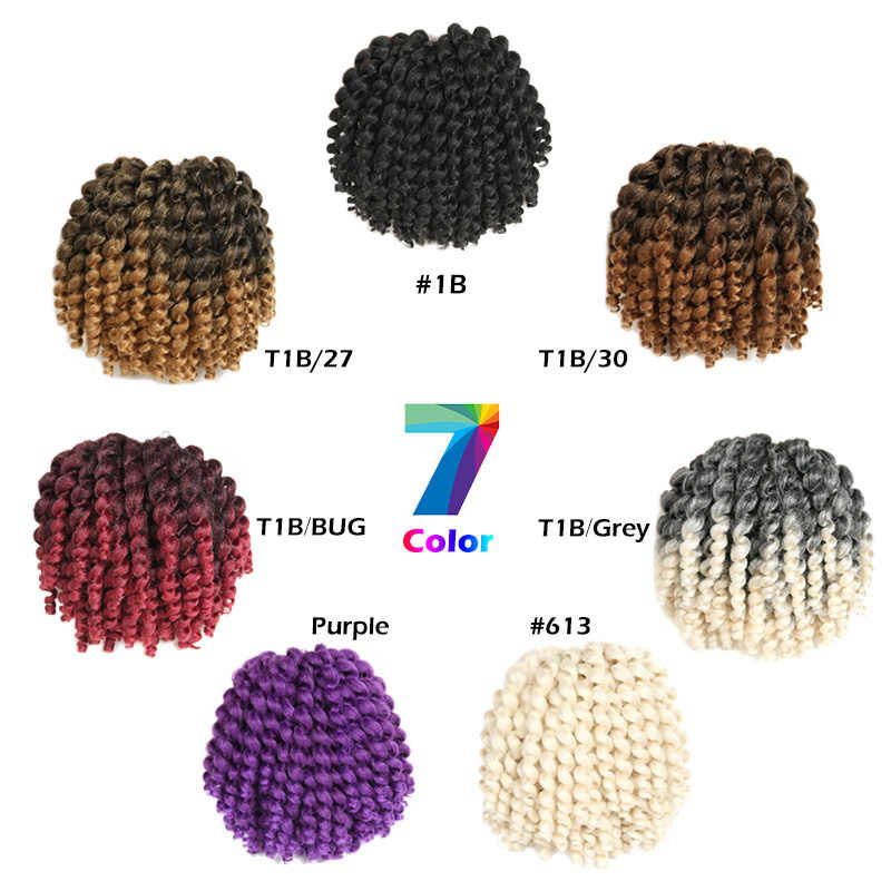 Jamaican Bouncing Crochet Crochet Kepang Mengepang Rambut Ombre Keriting Crochet Putar Rambut Pirang Rambut Ekstensi 8 Inch