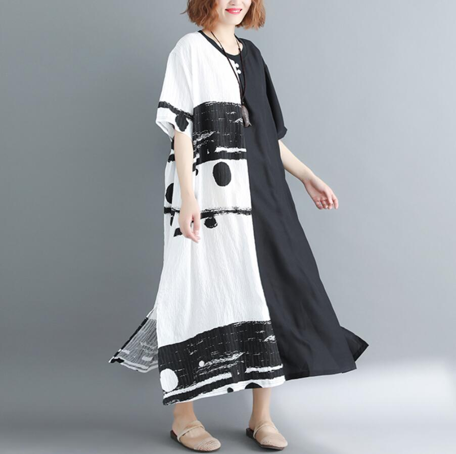 Nefeilike Summer New Women Dress Plus Size Patchwork Black White Linen Button Female Vintage S Vestidos Oversized Long Dress in Dresses from Women 39 s Clothing