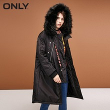 ONLY womens' winter new drawstring letter hooded long section cotton clothing |118322523