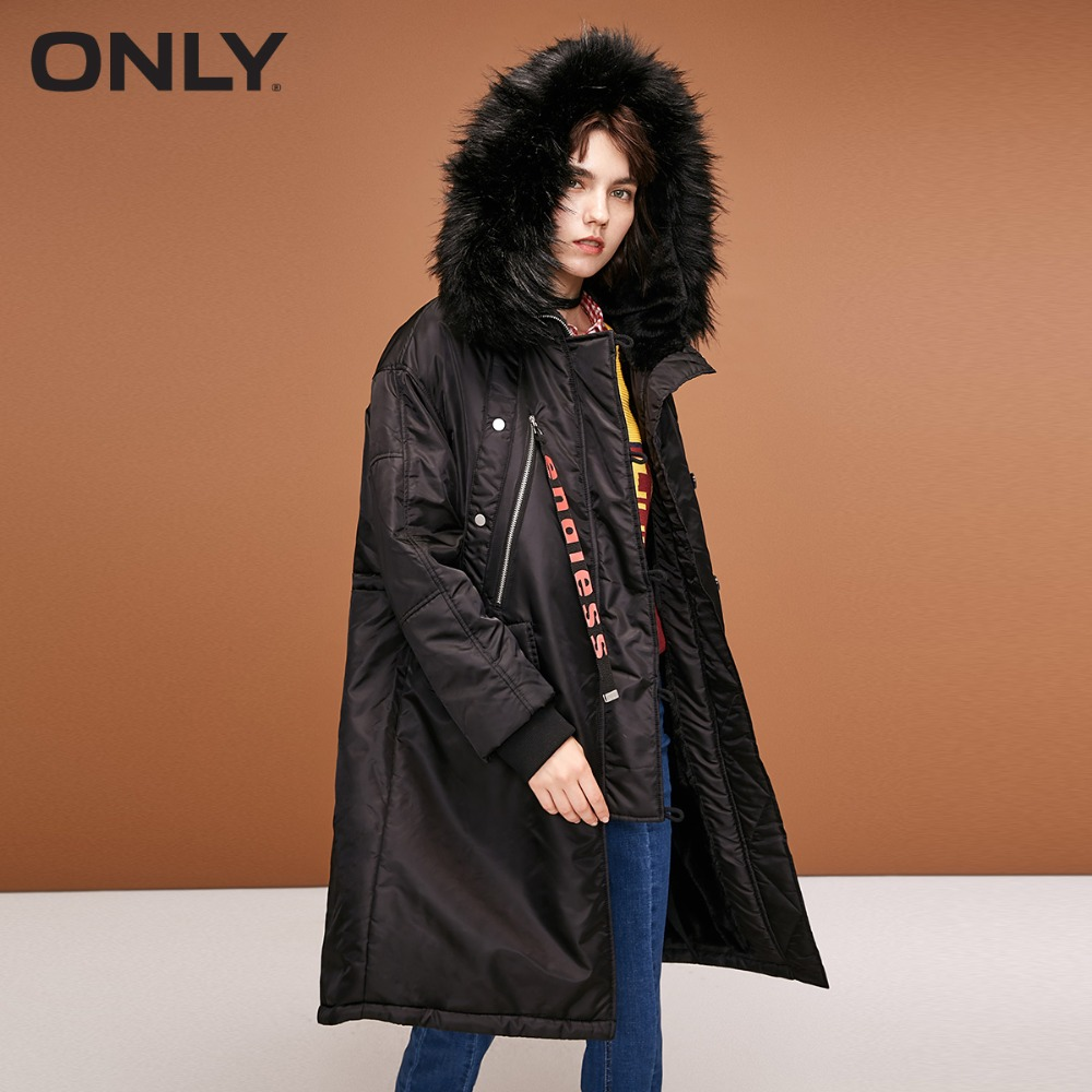 SOLO delle nuove donne di inverno nuova lettera coulisse con cappuccio lungo tratto di abbigliamento in cotone  118322523-in Parka da Abbigliamento da donna su  Gruppo 1
