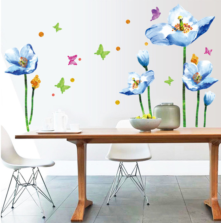sky blue flower wall stickers decals women home living room bedroom window DIY decoration graceful plants pvc wallpaper mural
