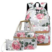3 Pcs School Backpacks for Teen Girls School Bags Lightweight Kids Bags Children Travel Floral Canvas Backpack Bookbags Set(China)