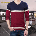 2016 Time-limited Sale Sudaderas Man Knitwear Good Quality Spring Men's Knitted V-neck Jumper Metrosexual Stripe Men Sweater