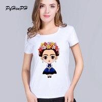 PyHenPH T shirt for women Fashion Casual Frida Kahlo Print T-Shirt Women O-neck Camisetas Mujer Harajuku White T shirt Femme