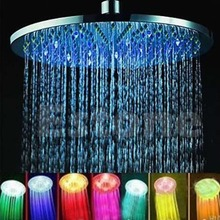 Stainless Steel 8 inch RGB LED Light Rain Shower Head Bathroom Dls HOmeful qiang stainless steel black bathroom ultrathin 2 mm rain shower head 8 10 12 inch wall