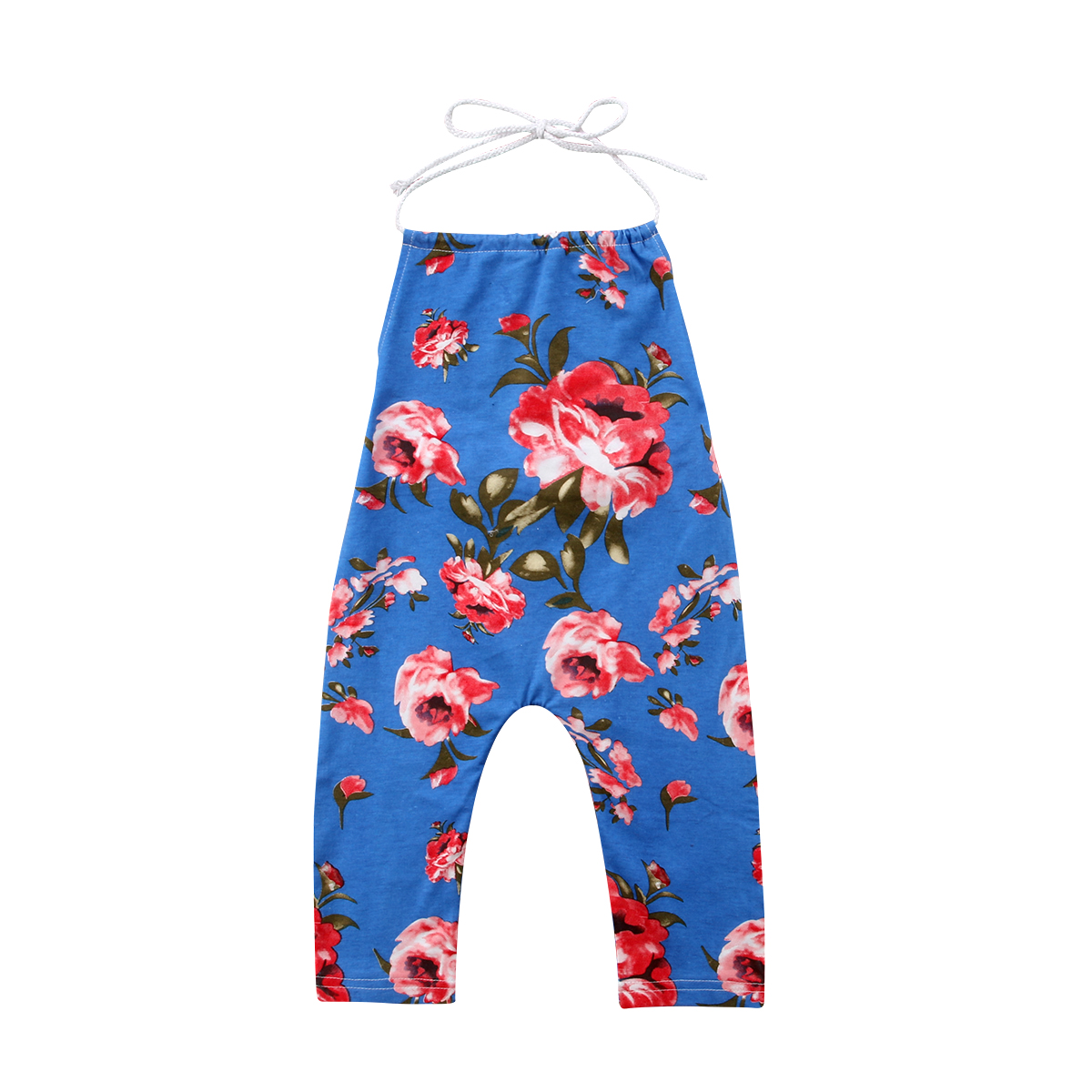 Newborn Infant Baby Girls Summer Blue Floral Sleeveless Strap Romper Jumpsuit Cute Casual Outfit