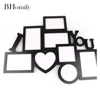8pcs Set New Black Wedding Wooden Combination Photo Frame I LOVE YOU Wall Decoration Wooden Picture Frame Set