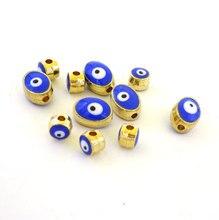 Купить с кэшбэком 60Pcs Spacer Beads Blue Evil Eye Metal Beads Seed Bead Jewellery Bricolaje Oval10*8mm And Round 6mm For Choice