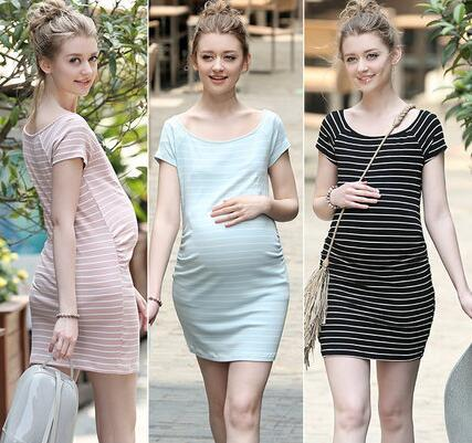 Elegant Maternity Clothes High Quality Stripe Cotton Short Sleeve Dress Summer Pregnant Women Dresses Elastic Pregnancy Clothing