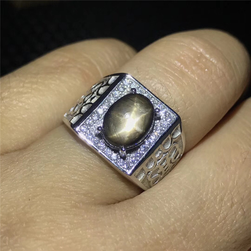 Natural Star Sapphire Stone Solid Silver 925 Chunky Rings Men Real Gemstone 925 Sterling Silver Mens Jewelry Free CertificateNatural Star Sapphire Stone Solid Silver 925 Chunky Rings Men Real Gemstone 925 Sterling Silver Mens Jewelry Free Certificate