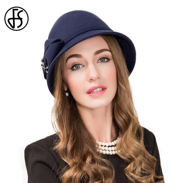 FS Royal Navy Blue Wool Bowler Felt Fedora Hats For Elegant Women Bowknot  Chapeau Winter Ladies Party Church Cloche Hat 3840227ef3d
