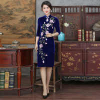 Modern Cheongsam Velvet Qipao Long Chinese Traditional Dress Oriental Style Dresses China Clothing Store Robe Traditionnelle