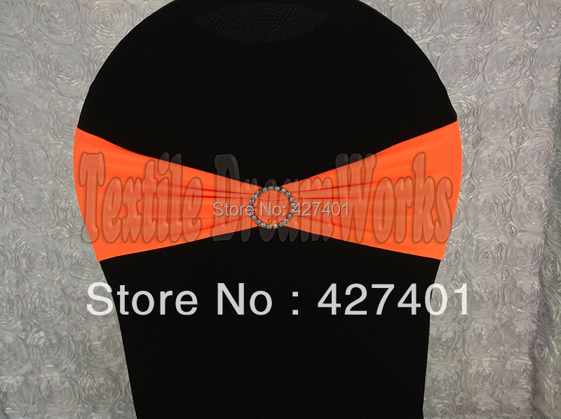 Chair Covers And Sashes For Sale Milton Keynes Hot Neon Orange Spandex Bands Lycra Band Sash With Round Diamond Buckle Wedding Banquet