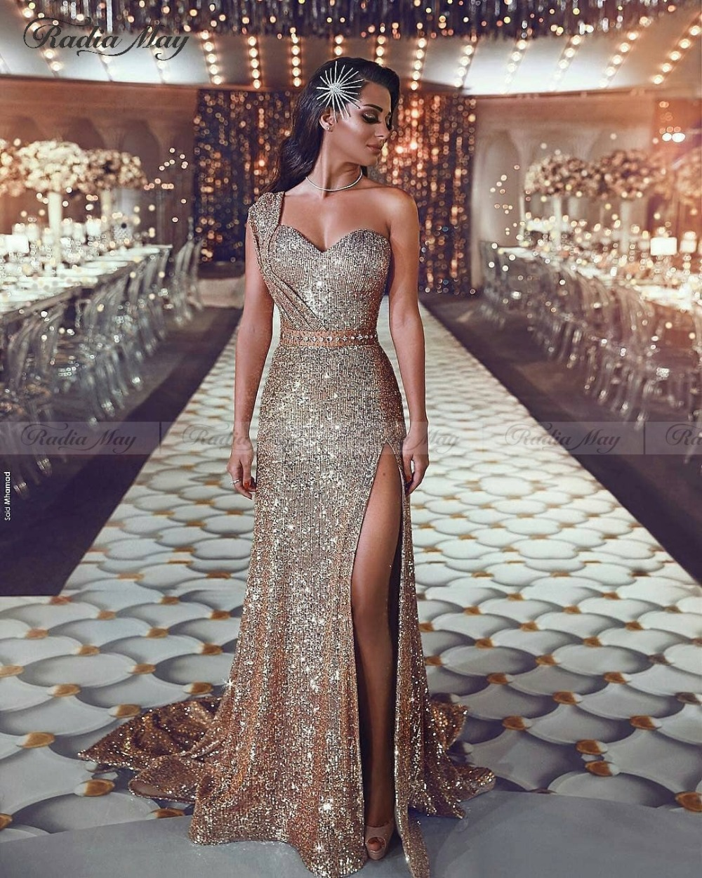 Saudi Arabic One Shoulder Mermaid Rose Gold Evening Dress Long Sparkly Sequin Dubai Prom Dresses with