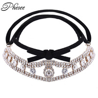 Phesee New Fashion Gold Color Alloy Choker Necklace Black And White Flannelette Bow Shinny Crystal Necklace