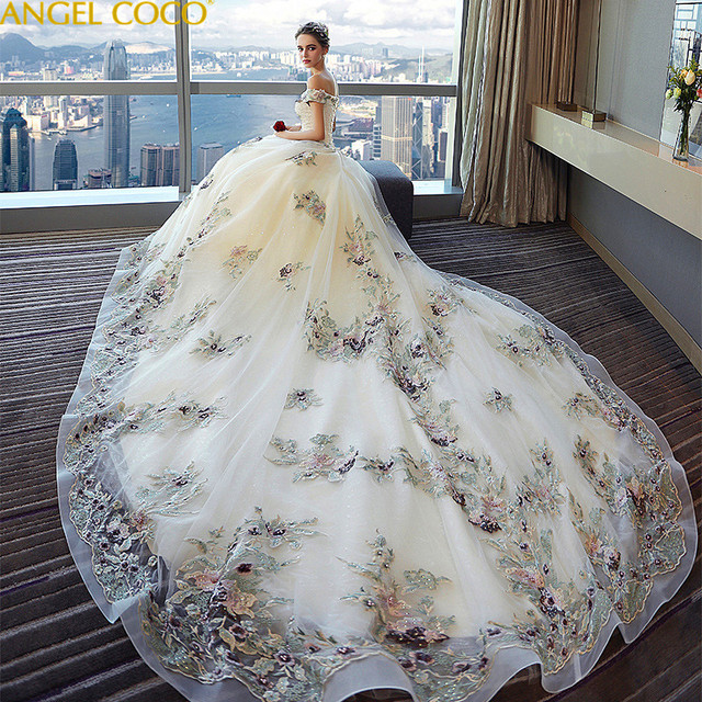 Maternity Wedding Dress 2018 New High Waist Pregnant Women Large Size Was Thin Long Elegant Shoulder Luxury Princess Fantasy
