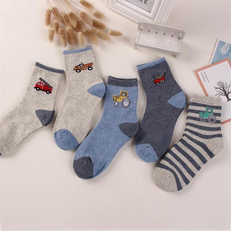 5 Pair /Lot Spring & Autumn Kids   Socks   Cotton Cartoon Car Children   Socks   For Boys 2-12 Year Baby   Socks