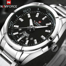 Купить с кэшбэком NAVIFORCE Brand Men Watches business Quartz 30M waterproof watches men's stainless steel band auto date wristwatches relojes