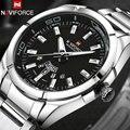 NAVIFORCE Marca Homens Relógios de negócios relógios de Quartzo 30 M à prova d' água dos homens banda de aço inoxidável auto data relógios de pulso relojes