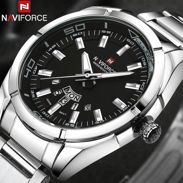 Naviforce бренд Для мужчин Часы Бизнес кварц 30 м Водонепроницаемый Часы Для Мужчин's Нержавеющаясталь группа Дата авто Наручные часы Relojes