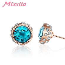 MISSITA Romantic Blue Snow Lotus Earrings Clear CZ For Women Silver Jewelry Brand Stud Party Gift Hot Sale