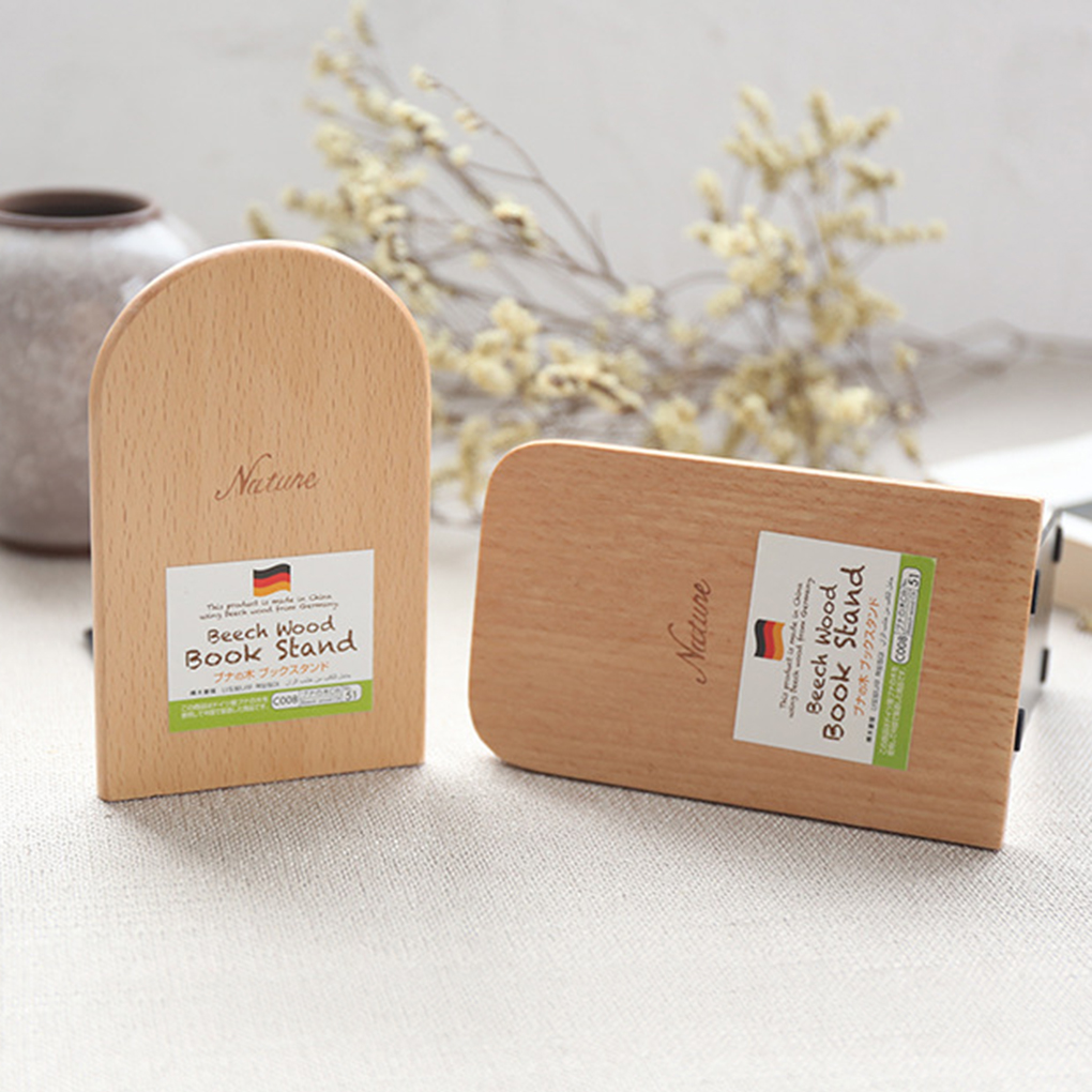 New Arrival 1pcs Nature Beech Wood Book Stand Anti-skid Bookends Book Ends Shelf Holder