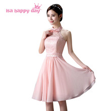 89f08fb818 halter chiffon dresses bandage 2019 new cocktail and party short elegant  color pink semi formal dress in wedding under  50 H3604