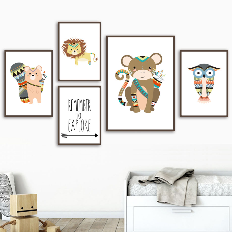 Monkey Lion Bear Owl Explore Quote Wall Art Canvas Painting Nordic Posters And Prints Animals Wall Pictures Baby Kids Room Decor in Painting Calligraphy from Home Garden
