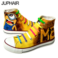 JUP 5 Pair Men Males Painted Canvas Shoe Comfortable Casual fashion Anime Hand Painted High Anime Despicable Me Minions Footwear