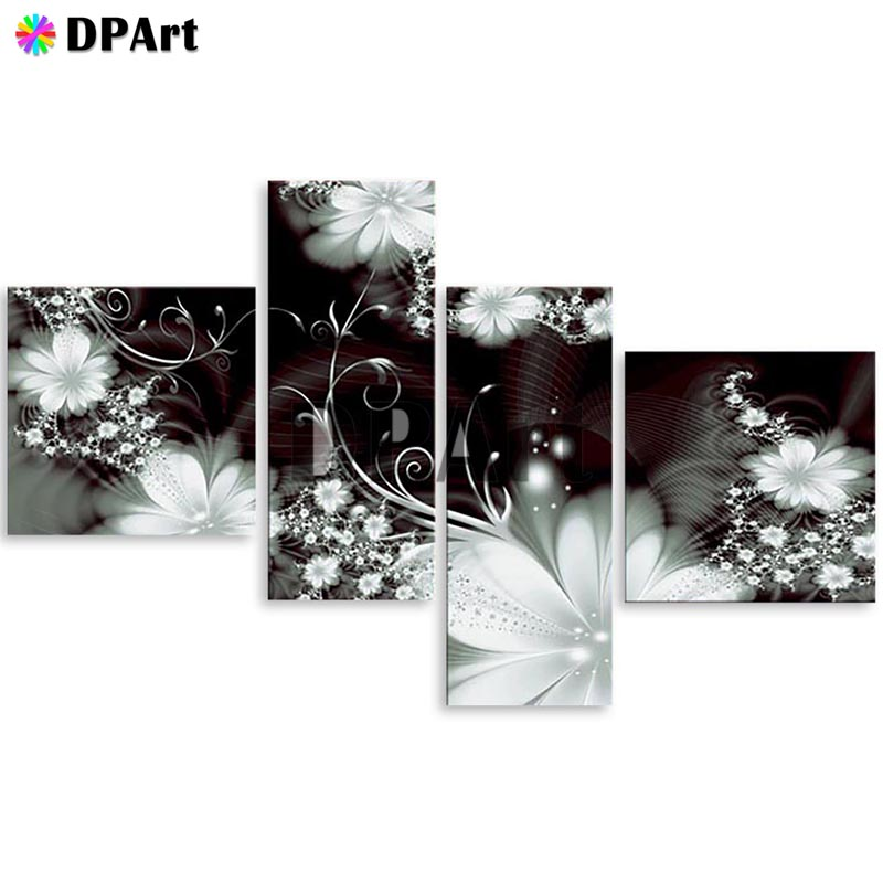 4PCS Diamond Painting 5D Full Square Round Drill Black White Flowers Daimond Embroidery Painting Cross Stitch