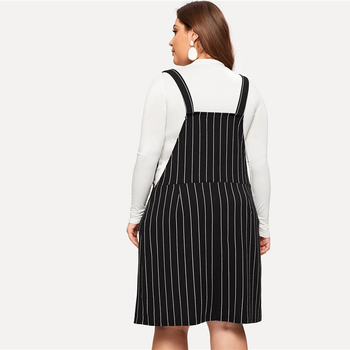 Plus Size Black Striped Straps Mini Pinafore Dress