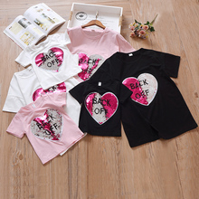 Reverse Sequins Hearts Cotton T-Shirts Girls Reversible Sequin Magical Color Changing Tees Shirts Discoloration Tops