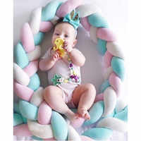 Baby Colorful Soft Knot Pillow Braided Crib Bumper Decorative Bedding Cushion