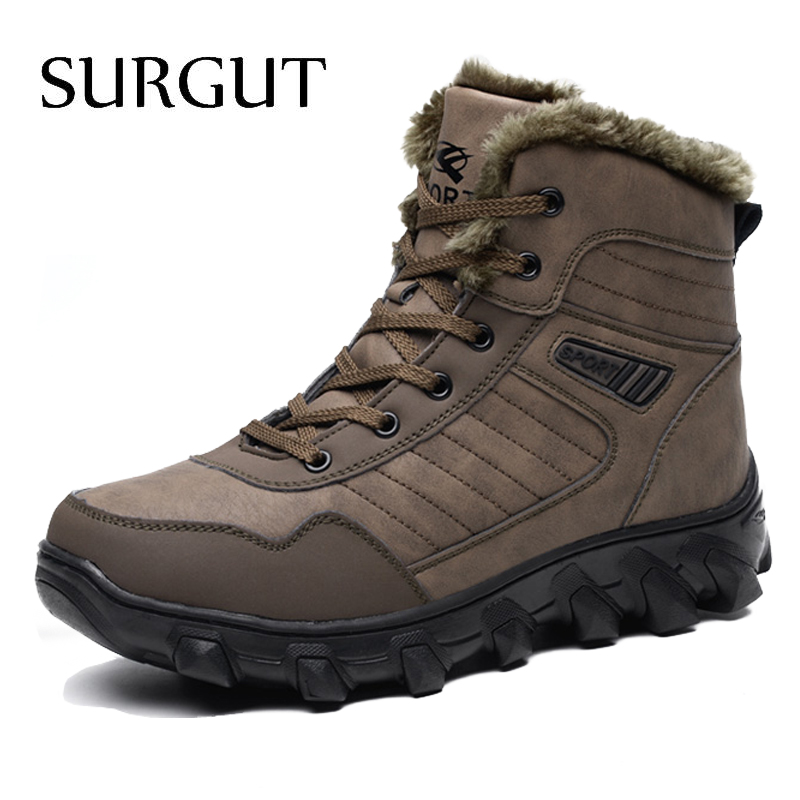 SURGUT Brand Autumn Winter Warm Fur Men Comfortable Working Shoes High Top Snow Boots Genuine Leather