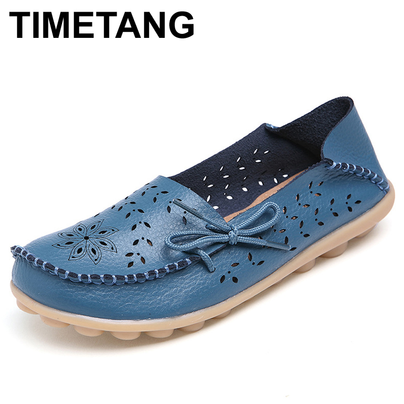 TIMETANG Plus Size Ballet Summer Cut Out Women Genuine Leather Shoes Woman Flat Flexible Round Toe Nurse Casual Fashion Loafer 2017 summer new women fashion leather nurse teacher flats moccasins comfortable woman shoes cut outs leisure flat woman casual s